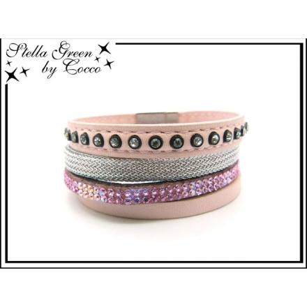 Bracelet Stella Green - 4 rangs - Strass - Maille - Rose