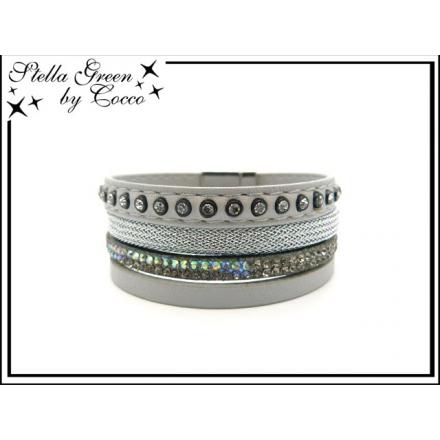 Bracelet Stella Green - 4 rangs - Strass - Maille - Gris