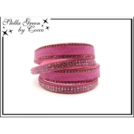 Bracelet Stella Green - Double tour - Strass - Motif serpent - Fushia