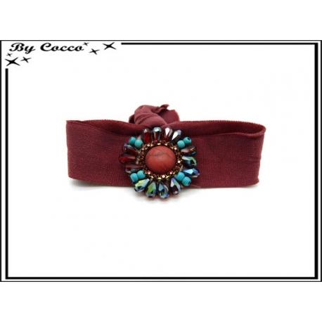Bracelet - Elastique - Fleurs perles - Bordeaux