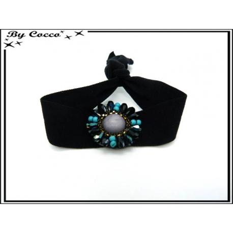 Bracelet - Elastique - Fleurs perles - Noir