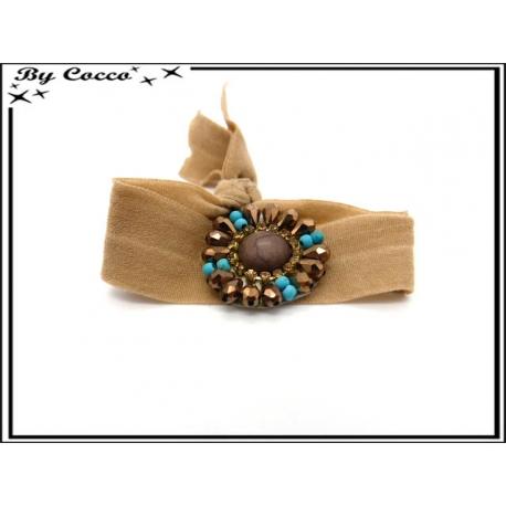 Bracelet - Elastique - Fleurs perles - Caramel