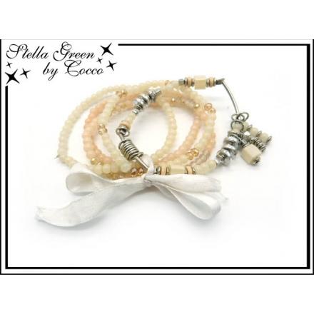 Bracelet Stella Green - 5 rangs - Noeud - Pampilles - Crème