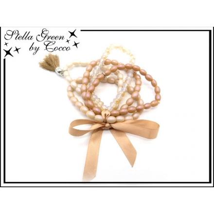 Bracelet Stella Green - 5 rangs - Noeud - Pompon - Caramel
