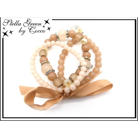 Bracelet Stella Green - 4 rangs - Noeud - Pampilles - Caramel