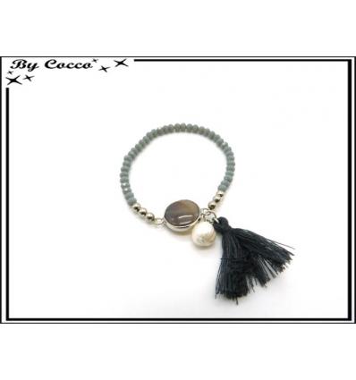 Bracelet - Petites perles - Pompon - Gris