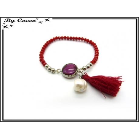 Bracelet - Petites perles - Pompon - Bordeaux