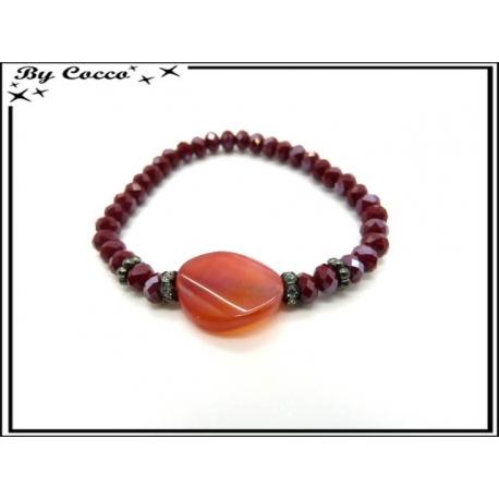 Bracelet - Petites perles - Bordeaux / Rouge