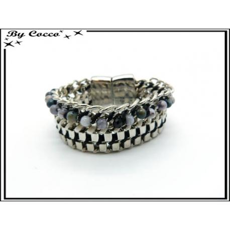 Bracelet - Strass - Entrelacés - Perles - Noir / Blanc