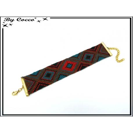 Bracelet - Grand modèle - Type brésilien 2 - Losanges - Multicolor