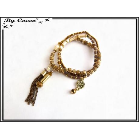 3 Bracelets - Perles - Pampilles - Ocre / Marron