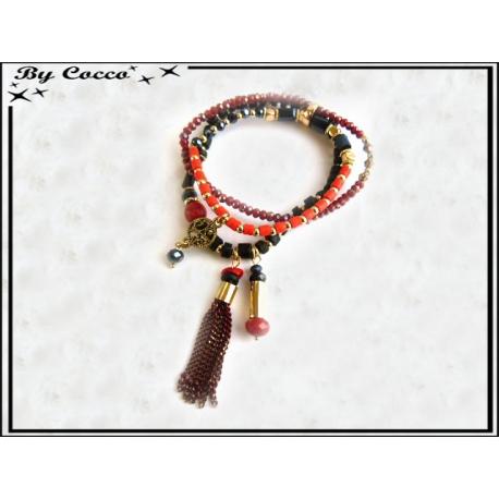 3 Bracelets - Perles - Pampilles - Noir / Rouge