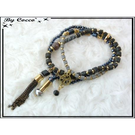 3 Bracelets - Perles - Pampilles - Noir / Gris