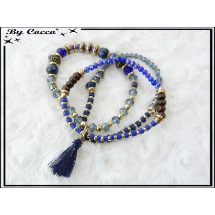 3 Bracelets - Perles - Pompon - Bleu / Gris