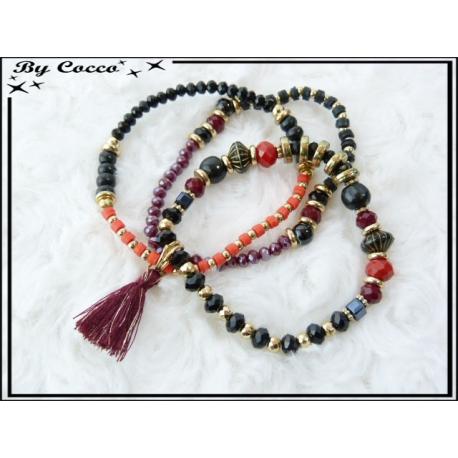 3 Bracelets - Perles - Pompon - Noir / Rouge