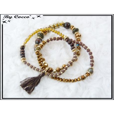 3 Bracelets - Perles - Pompon - Ocre / Marron