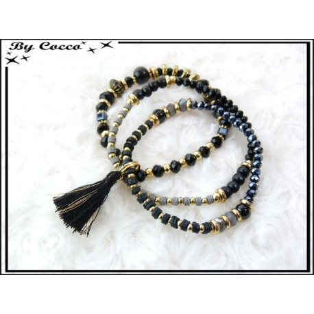 3 Bracelets - Perles - Pompon - Noir / Gris