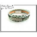 Bracelet Stella Green - 3 rangs - Strass - Aspect léopard - Vert d'eau