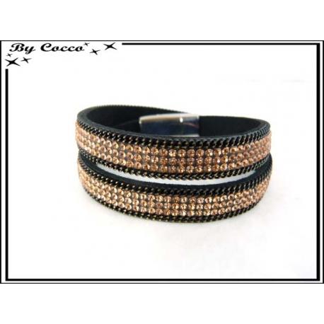 Bracelet - Double tour - Perles - Strass - Ocre