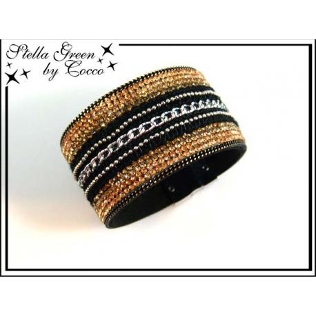 Bracelet Stella Green Strass / Chaînette - Dégradé Doré