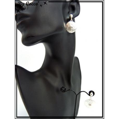 Boucles d'oreilles - Pièce martelé - Argent