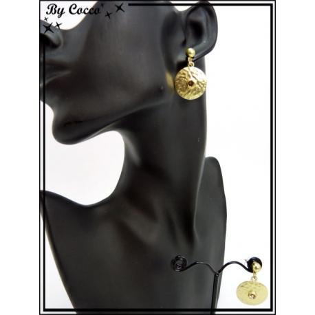 Boucles d'oreilles - Pièce martelé - Doré / Ambre