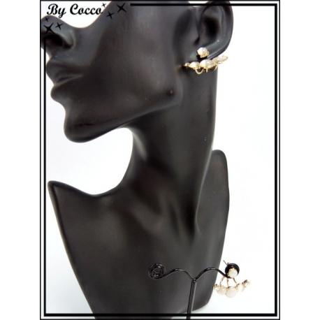 Boucles d'oreilles - Demi cercle - Perles - Strass - Doré