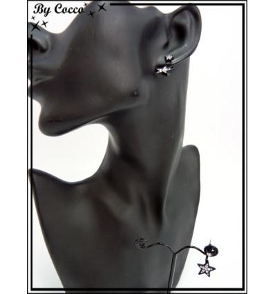 Boucles d'oreilles - Etoiles - Noir / Argent