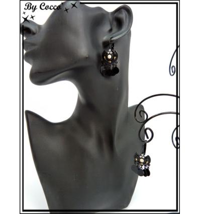 Boucles d'oreilles - Pampilles - Noir / Doré
