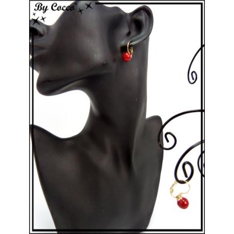 Boucles d'oreilles - Petite perle rouge - Rouge / Doré