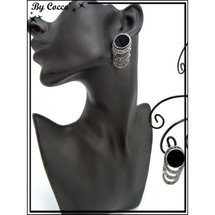 Boucles d'oreilles - Triple ronds - Strass - Noir / Argent