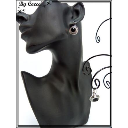 Boucles d'oreilles - Double ronds - Noir / Argent