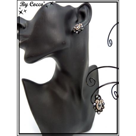 Boucles d'oreilles à clip - Strass - Noir