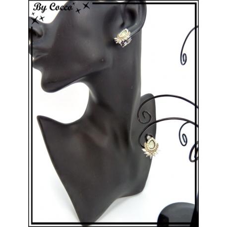 Boucles d'oreilles à clip - Fleurs - Beige
