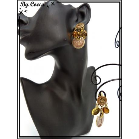 Boucles d'oreilles à clip - Pampilles / Etoiles - Doré / Taupe