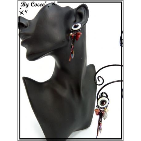 Boucles d'oreilles à clip - Pampilles / Chaînettes - Noir / Rouge