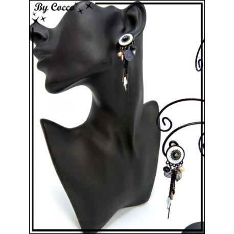 Boucles d'oreilles à clip - Pampilles / Chaînettes - Noir / Blanc