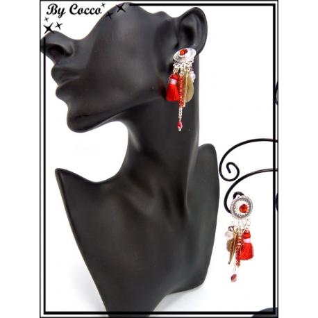 Boucles d'oreilles à clip - Diverses pampilles - Rouge / Argent / Doré
