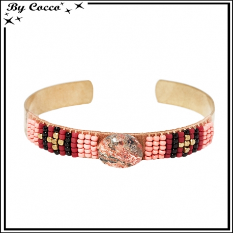 Bracelet rigide cuivré perles corail / marrons