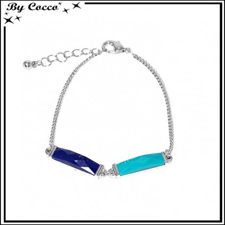 Bracelet perles rectangulaires bleues / turquoises