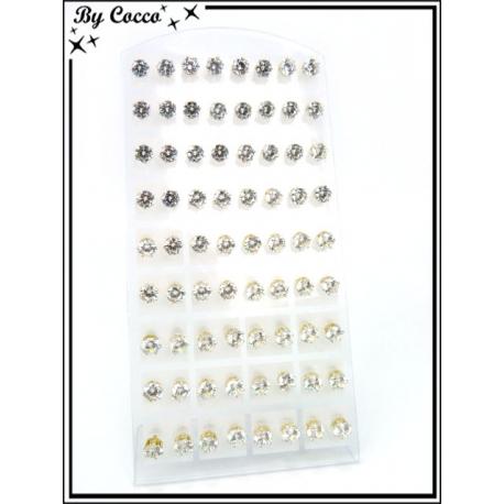 Boucles d'oreilles - Clous - Doré / Argent - Plaque de 36