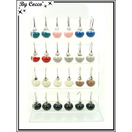 Boucles d'oreilles - Globe perles - Gouttes - Multicolor - Plaque de 12