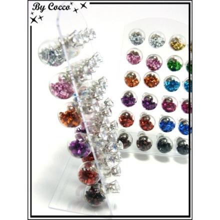 Boucles d'oreilles - Globe perles - Multicolor - Plaque de 12