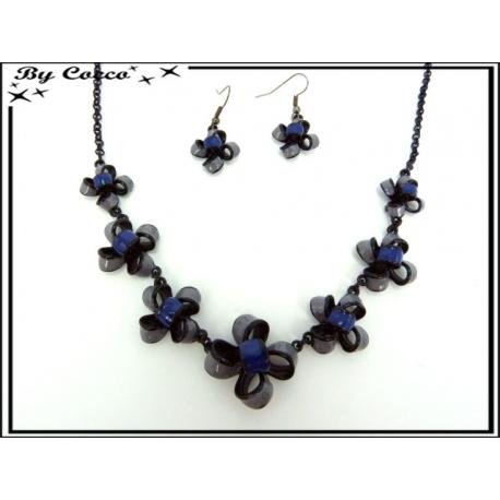 Parure - Chaîne - Petites fleurs - Bleu / Gris