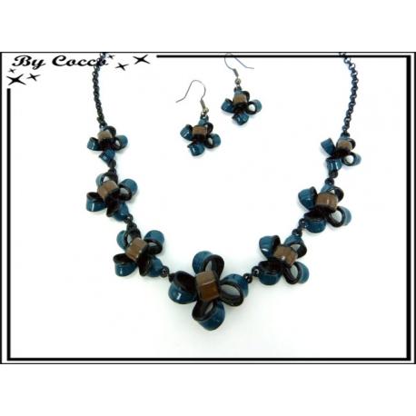 Parure - Chaîne - Petites fleurs - Bleu / Marron