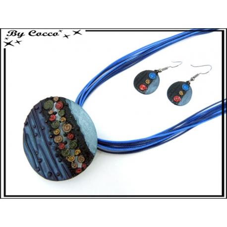 Parure - Cordon - Spirales - Bleu