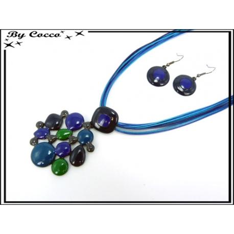 Parure - Cordon - Petits ronds - Noir / Bleu