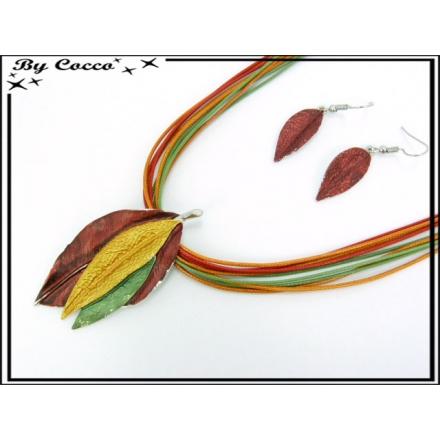 Parure - Cordon - Feuilles - Rouge / Jaune / Vert