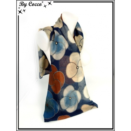 Foulard - Fleurs 4 pétales - Fond bleu marine
