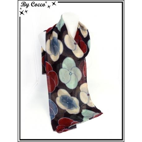 Foulard - Fleurs 4 pétales - Fond noir